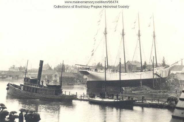 "Launching of schooner ""Eleanor F. Bartram,"" East Boothbay, 1903"