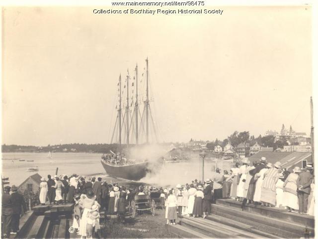 Launch of schooner James E. Newsom in Boothbay Harbor, 1919