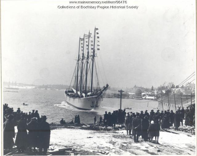 Launch of schooner Mary G. Maynard in Boothbay Harbor, 1920
