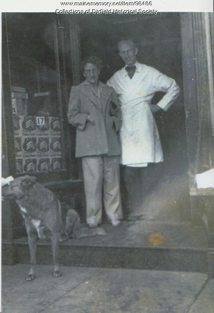 Doris and Paul Holmes, Holmes' Market, Main Street, Dixfield, ca. 1950