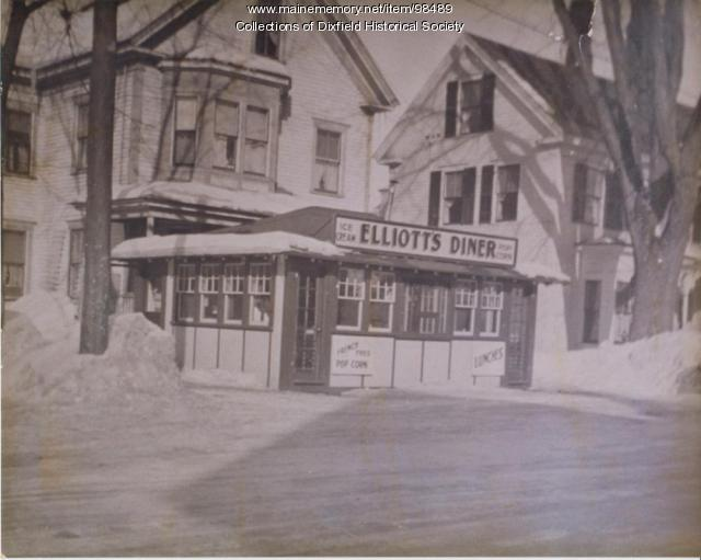 Elliott's Diner, Main Street, Dixfield, ca. 1950