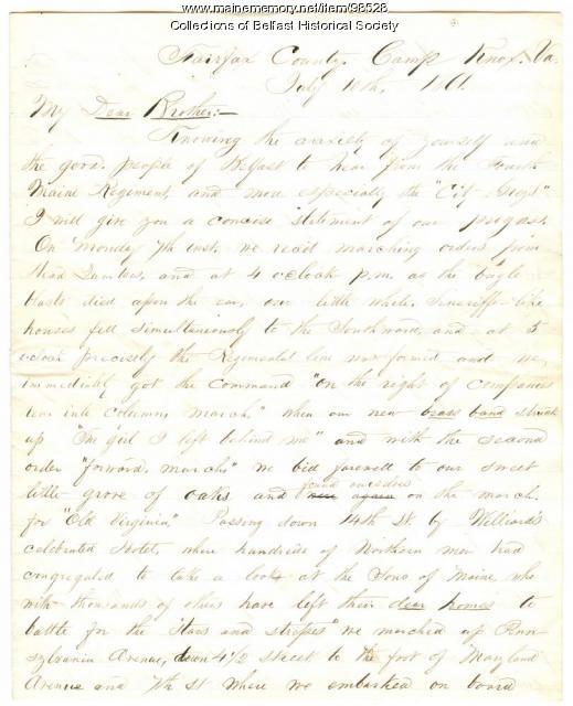 Civil War Letter, Alden D.Chase, Belfast, 1861