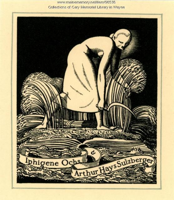 Iphigene Ochs and Arthur Hays Sulzberger bookplate, 1928