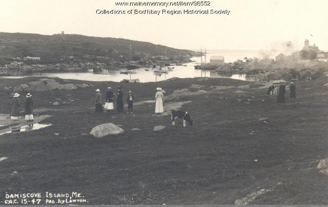 Commonwealth Art Colony students exploring Damariscove Island off Boothbay Harbor, 1915