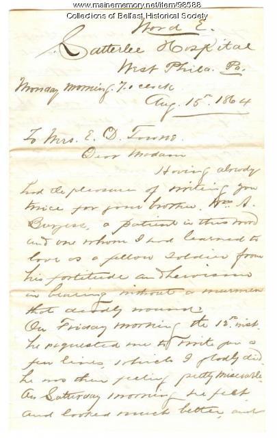 Peter Hazen letter to Mrs. E. D. Towne, Belfast, 1864