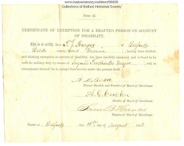 Thomas J. Burgess, Certificate of Exemption, Belfast, 1863 - Maine ...