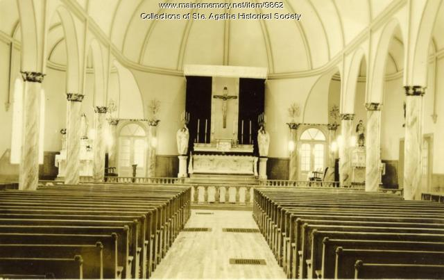 Interior of St. Agatha Catholic Church, Saint Agatha, ca. 1905