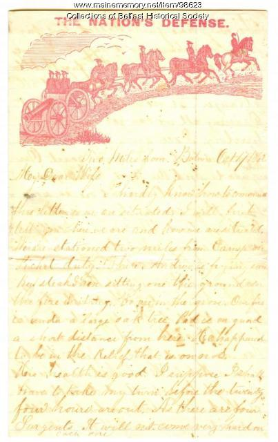 Lieutenant Alfred E. Nickerson letter, Swanville, 1862