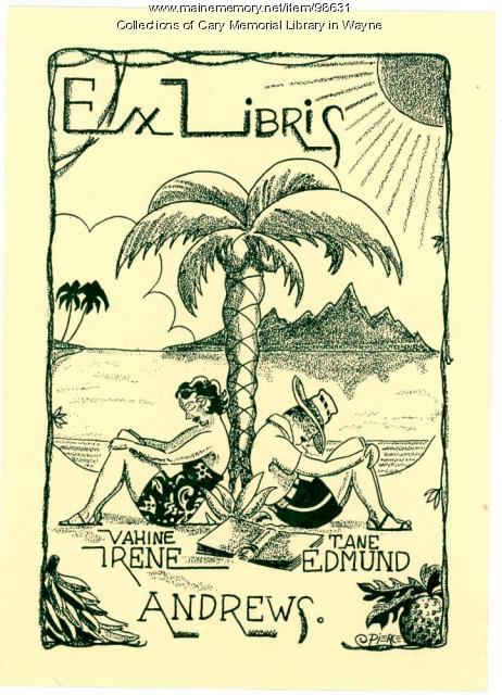 Irene and Edmund Andrews bookplate, ca. 1925
