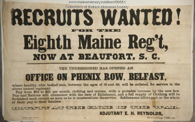 8th Maine Regiment recruitment poster, Belfast, ca. 1861