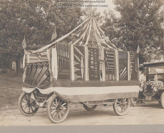 Charles Towle, 4th of July Parade Float, Dixfield, 1920