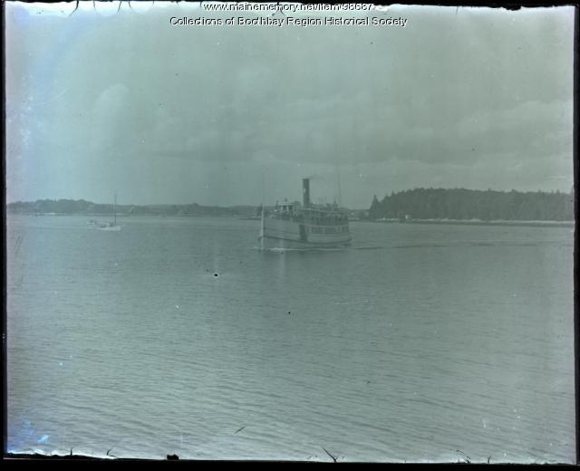 Passenger Steamer Islander II leaving Boothbay Harbor, ca. 1910