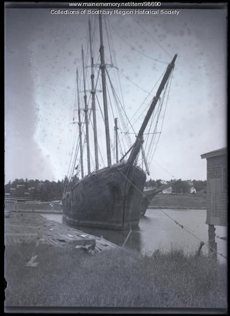 Schooner 'Freeman,' Mill Cove in Boothbay Harbor, ca. 1937