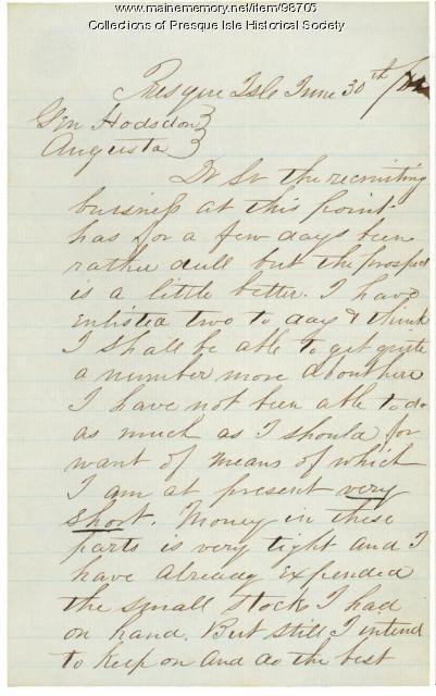 Letter to Gen. Hodsdon from recruiter Hovey Austin, Presque Isle, 1862