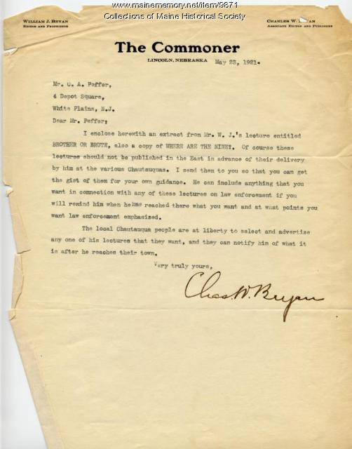 Letter from Charles W. Bryan to Crawford A. Peffer, May 23, 1921