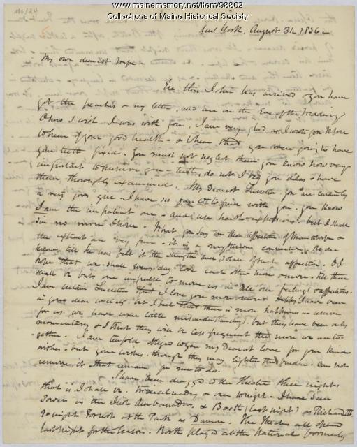 Kiah Sewall letter to wife, New York, 1836