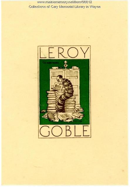 Leroy Goble bookplate, ca. 1925