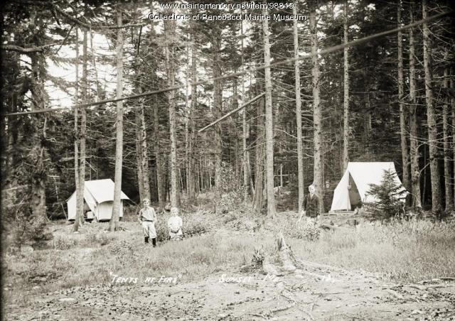 Tents at the Firs, Sunset, Deer Isle, ca. 1915