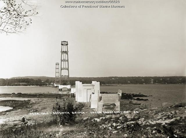 Deer Isle-Sedgwick Bridge construction, ca. 1938