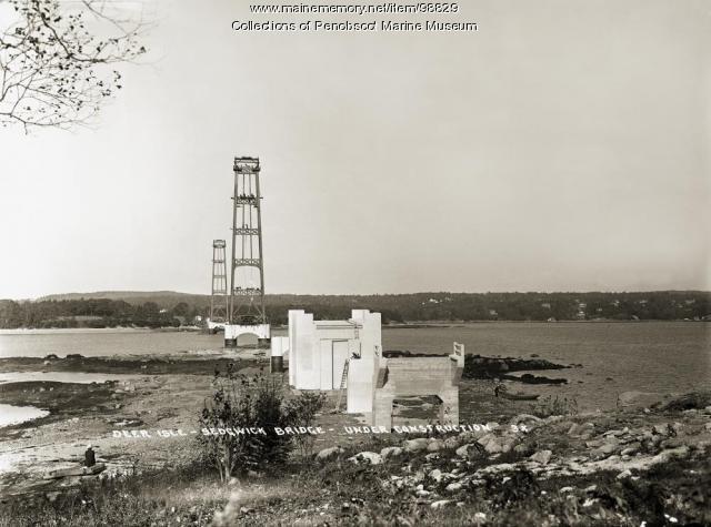 Deer Isle-Sedgwick Bridge construction, ca. 1938