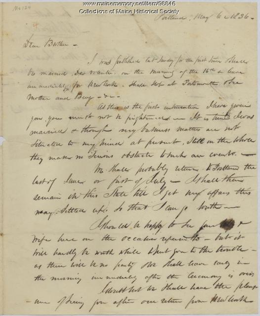Kiah Sewall letter on impending marriage, Portland, 1836