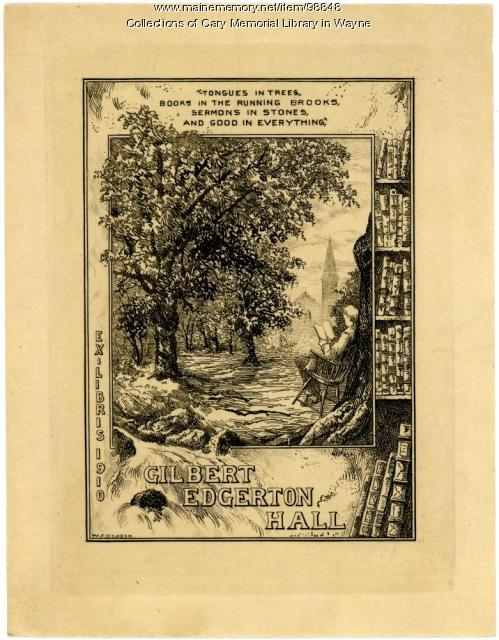 Gilbert Edgerton Hall bookplate, 1910
