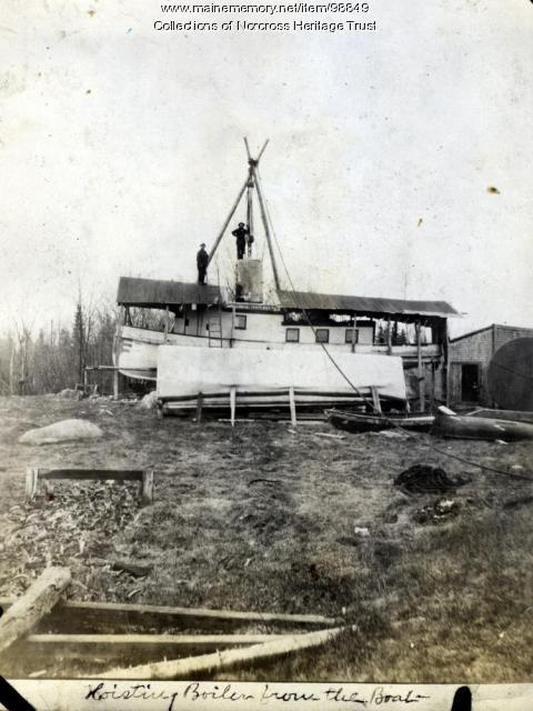 "Hoisting boiler from ""Minnehaha,"" Norcross, 1920"
