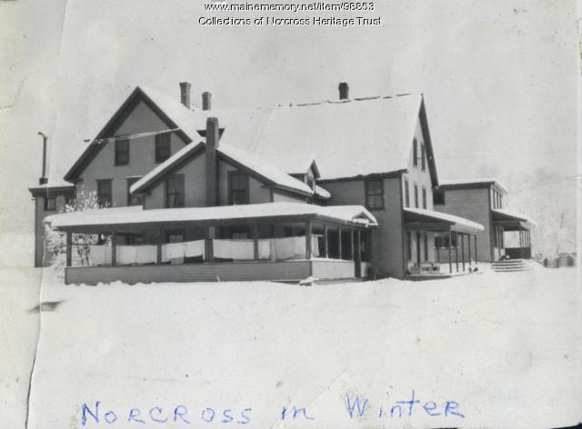 Norcross House in winter, Norcross, ca. 1915
