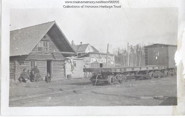Log camp, railroad cars, Norcross, ca. 1900