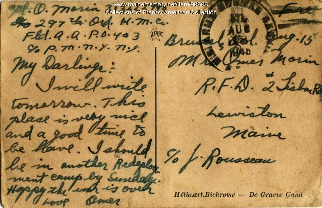 Postcard, Omer Morin, Bruxelles (Brussels), August 15, 1945