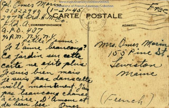 Postcard, Omer Morin, Le Havre, France, January 21, 1945