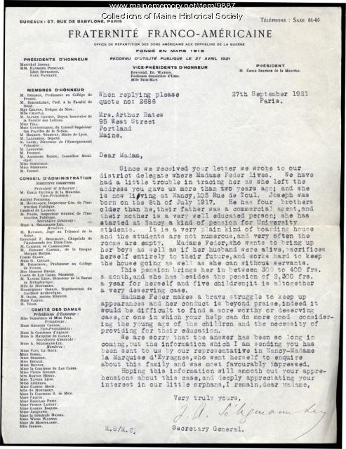 Fraternite Franco-Americaine letter to Mrs. Arthur Bates of Portland, Sept. 27, 1921