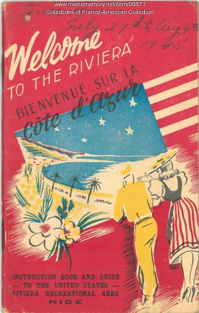 Cover, Instruction Book and Guide to the United States Riviera Recreational Area, Nice, France, 1945