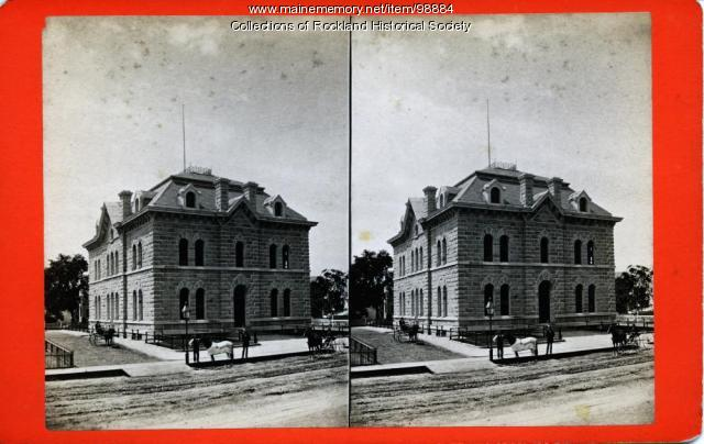 Custom house and post office from northeast, Rockland, ca. 1875