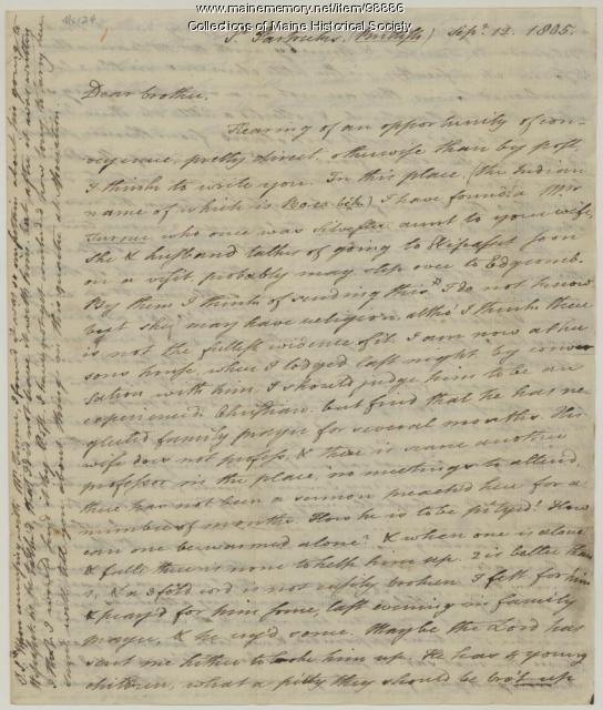 Jotham Sewall to Samuel Sewall on religious work, 1805