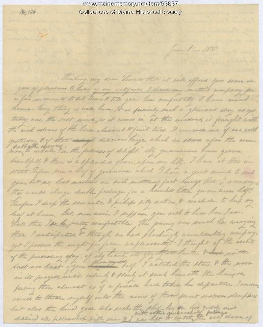 Lucretia Day letter to Kiah Sewall, Portland, 1835