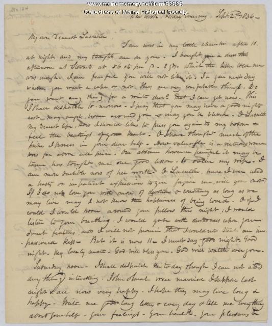 Kiah Sewall on business, books, New York, 1836