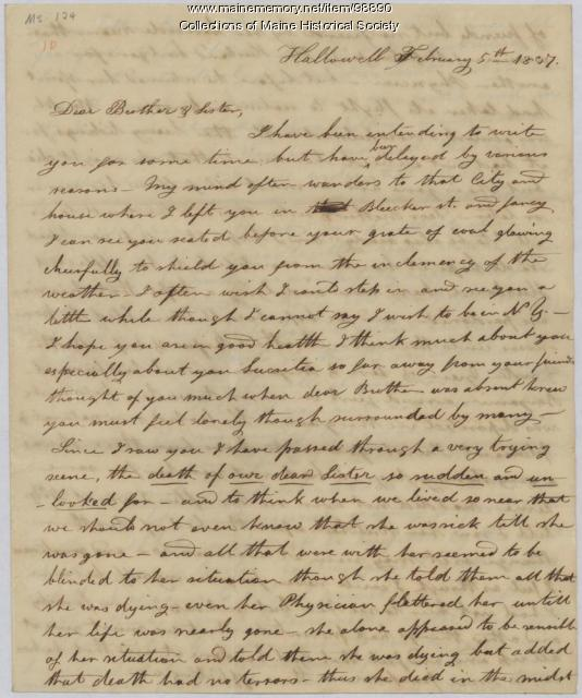 Esther Perham letter on sister's death, Hallowell, 1837