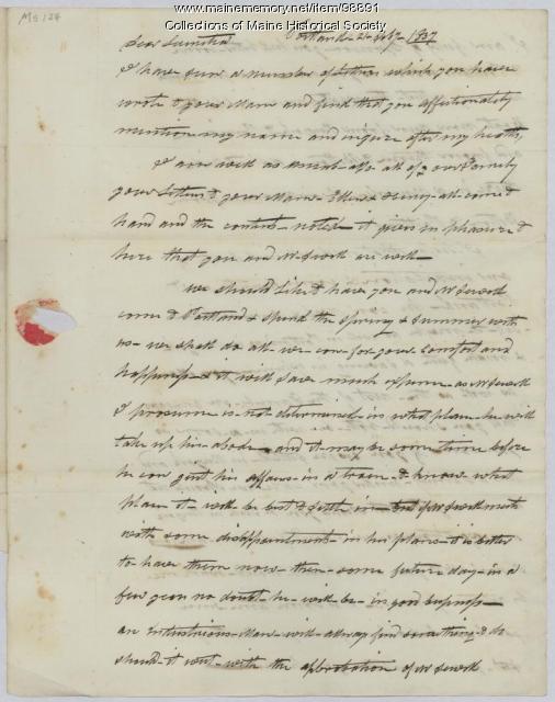 Ezekiel Day letter to daughter Lucretia, Portland, 1837