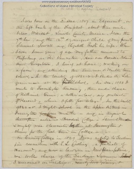 Kiah B. Sewall brief autobiography, Alabama, ca. 1854