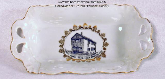 IOOF Lodge #22 Souvenir Dish, Dixfield, ca. 1900