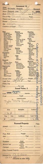 Assessor's Record, 1833-1843 Forest Avenue, Portland, 1924