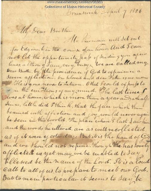 Kiah B. Sewall on death of father, Brunswick, 1826