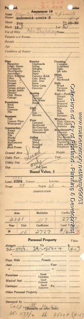 Assessor's Record, 28-30 Fox Street, Portland, 1924