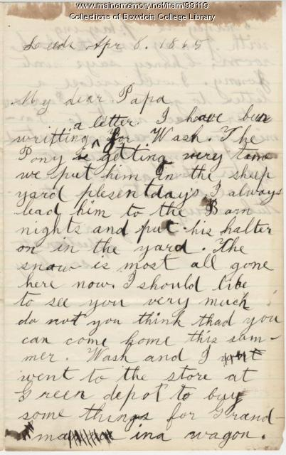Guy Howard to father, Leeds, 1865