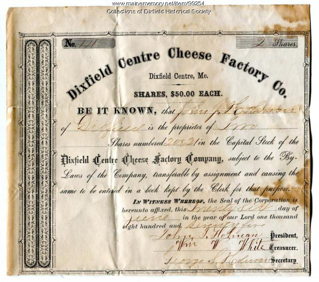 Dixfield Centre Cheese Factory Co. shares, Dixfield, 1875