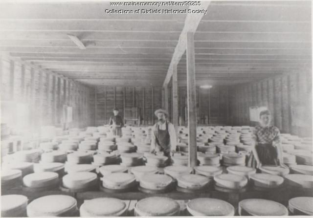 Cheese wheels produced at Dixfield Centre Cheese Factory, Dixfield, ca. 1880