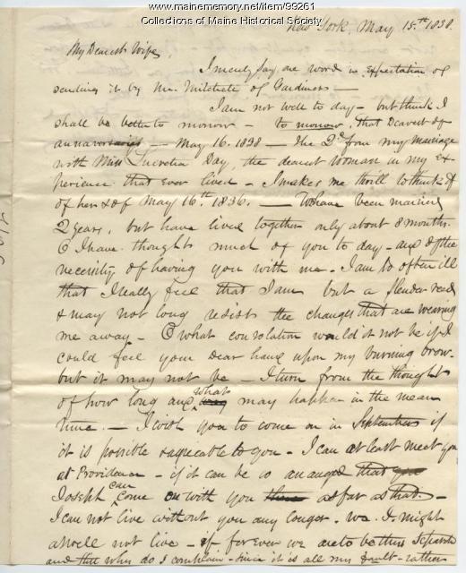 Kiah Sewall on illness, misfortunes, New York, 1838