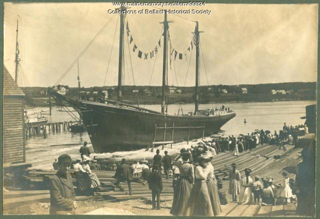 "Launching of schooner ""Theoline #1,"" Belfast, 1900"