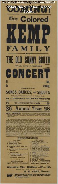 Kemp Family Singers broadside, Leeds, ca. 1895